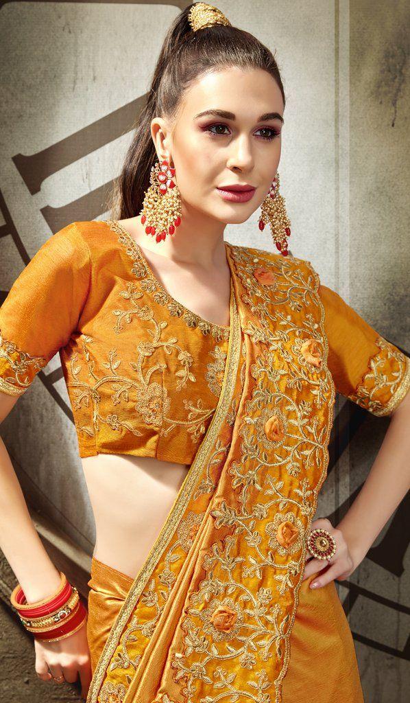 Details about  /Yellow Zari Resham Embroidered Stones Vichitra Silk Saree /& Unstitched Blouse