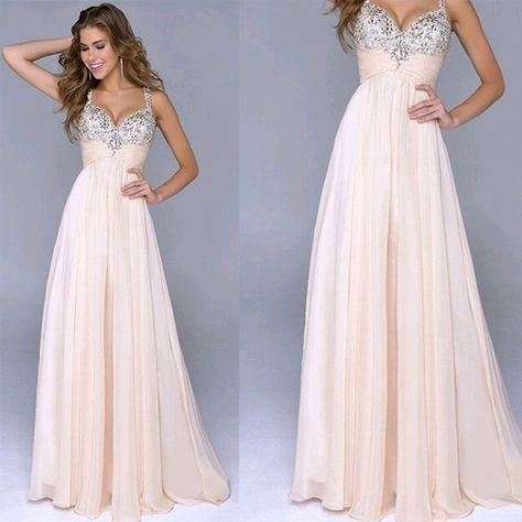 Chiffon Crystals Prom Dress, Party Dress