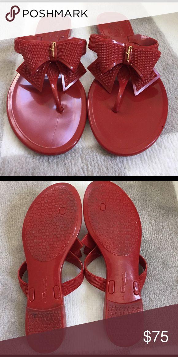 Ferragamo red bow flip flops Ferragamo red bow flip flops. Worn outside one time Ferragamo Shoes Sandals
