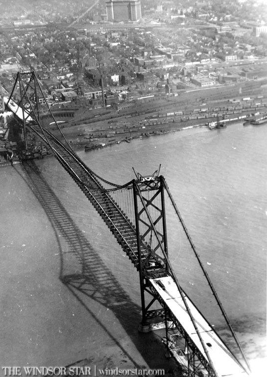 Windsor Ontario Aerial photo of the construction of the Ambassador Bridge