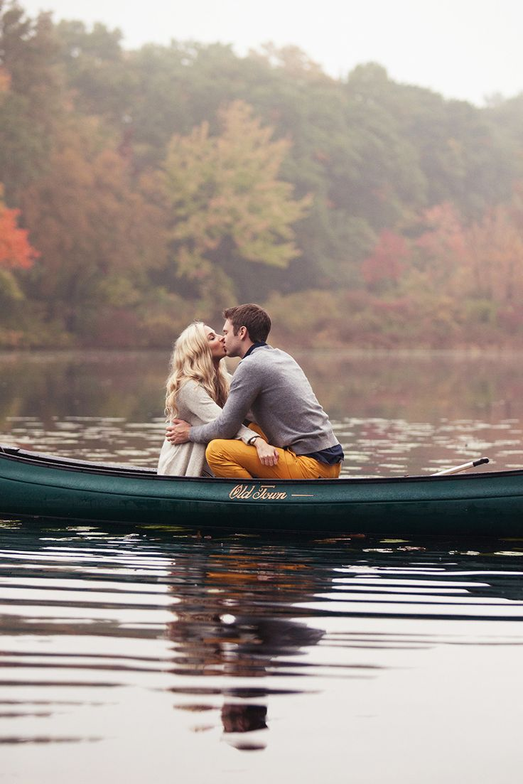 Love in a canoe   Autumn Engagement Session from Gina Brocker Photography  Read more - http://www.stylemepretty.com/massachusetts-weddings/2013/10/31/autumn-engagement-session-from-gina-brocker-photography/