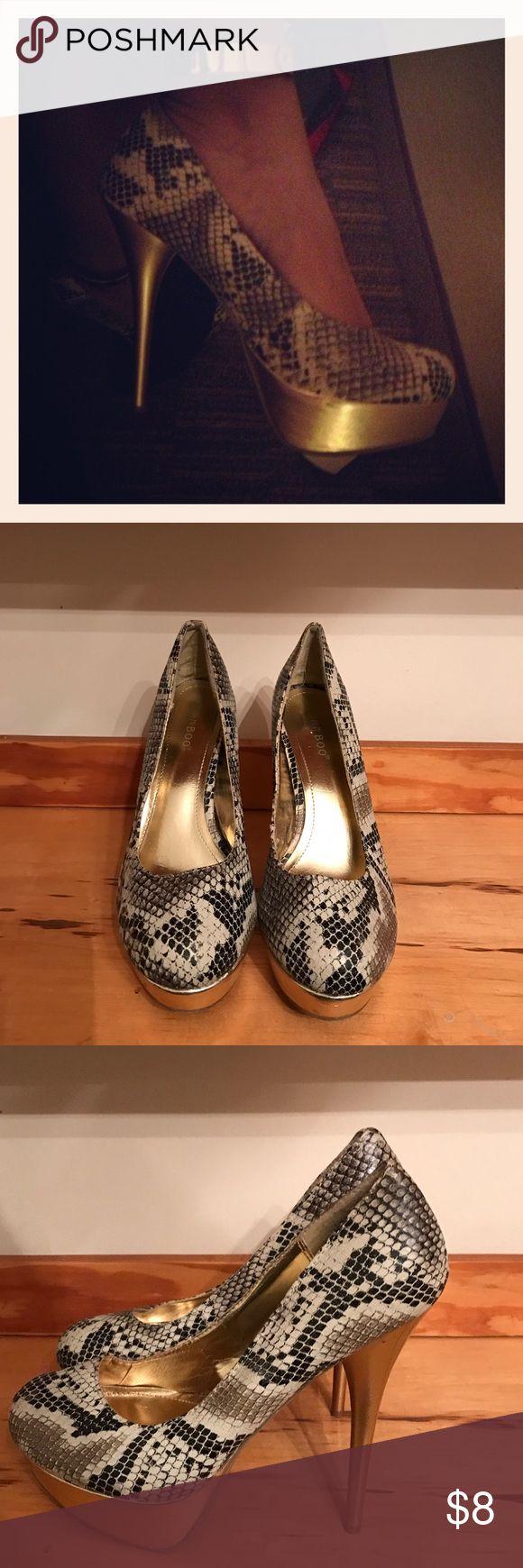 Gold Python Print Platform Heels Make a statement in these gold Bamboo python print platform pumps! Shoes Platforms