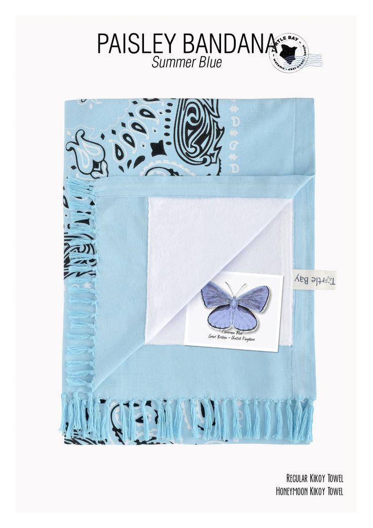Printed Kikoy : Paisley Bandana Summer Blue