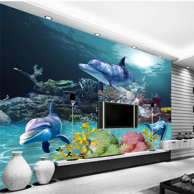 Custom 3D Wallpaper Underwater world Photo wallpaper Ocean Wall Murals Kids Bedroom Nursery Shop Wedding Home Room decor Dolphin