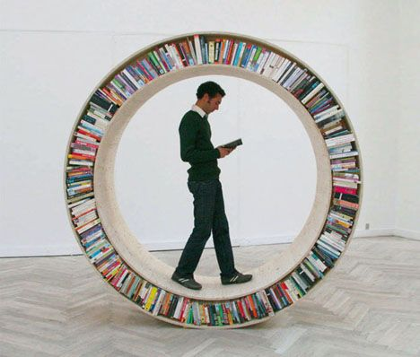 "Sad to say: these are not for sale. They are not even designed to be realistic or practical. ""Clearly non functional, they aim to appeal to the senses, creating a narrative which more often than not, reaches the absurd."" Instead of stuffing books into the smallest, most-linear and static spaces  ..."