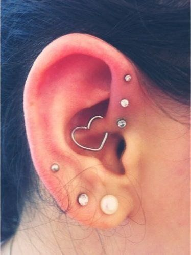 Cutest Daith Piercing Avaliable at MyBodiArt - Wired 16G Heart Rook Piercing