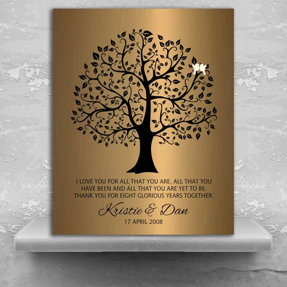 8 year anniversary personalized wedding tree gift faux bronze onyx gift for couple custom metal art