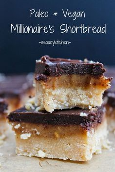 Dangerously delicious six ingredient, three layer chocolate and caramel Vegan and Paleo Millionaires Shortbread. @asaucykitchen