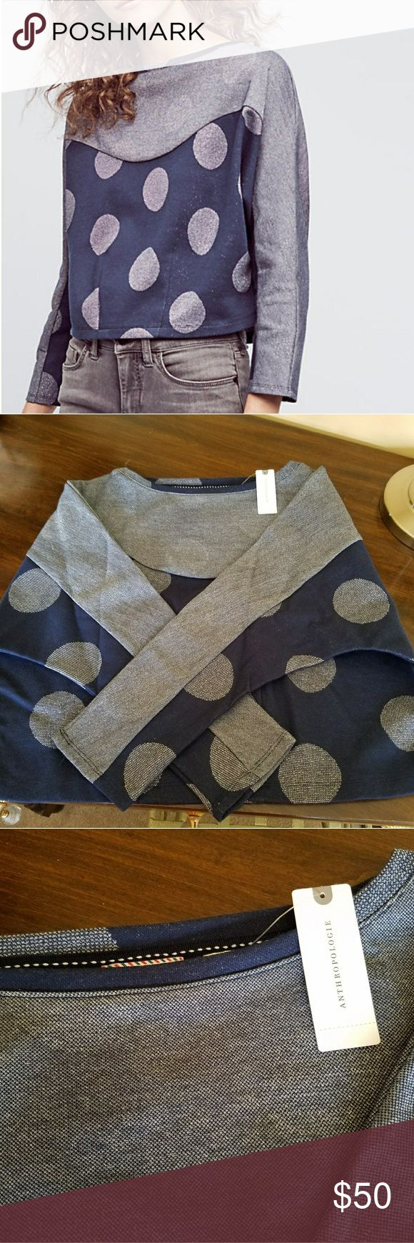 Navy and Silver Polka Dot Cropped Sweatshirt Brand new from anthropologie Anthropologie Tops Sweatshirts & Hoodies