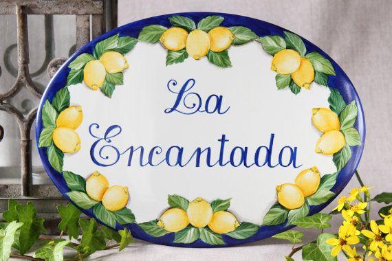 Porcelain lemon Address sign, House plaque, Address plaque, Custom House sign, outdoor sign, New home gift sign