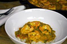 Shrimp Bobo (Bobo de Camarao). Delicious Brazilian stew with red palm oil, coconut milk, cilantro and yuca puree.
