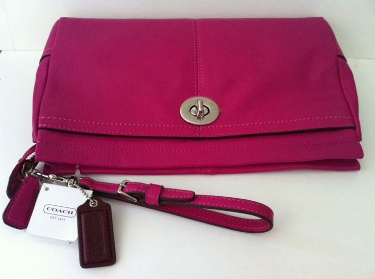 Coach bag: bright magenta park leather large clutch- brand new ...
