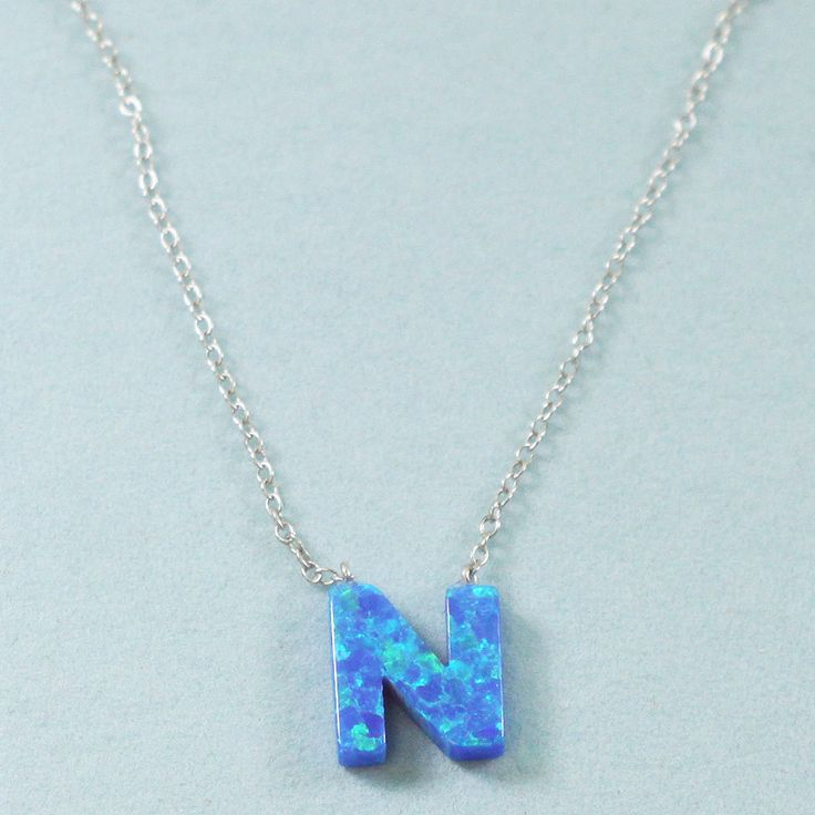 925 Sterling Silver Opal N-Initial Pendant Necklace