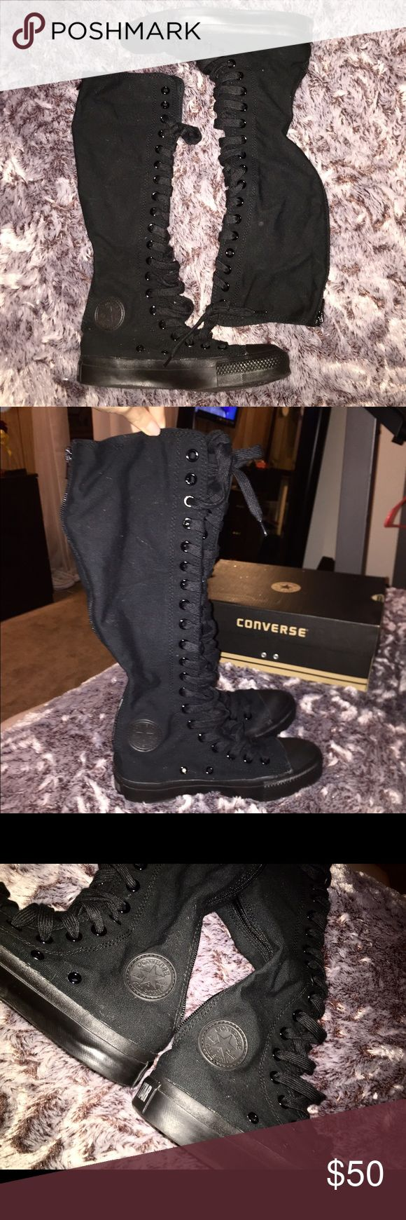 NEW Knee Hi Chuck Taylor Converse  Knee High ALL BLACK authentic converse  BRAND NEW WITH BOX NEVER WORN  Zipper in the back for easy wear  Size 4 men's and Size 6 women's Converse Shoes Lace Up Boots