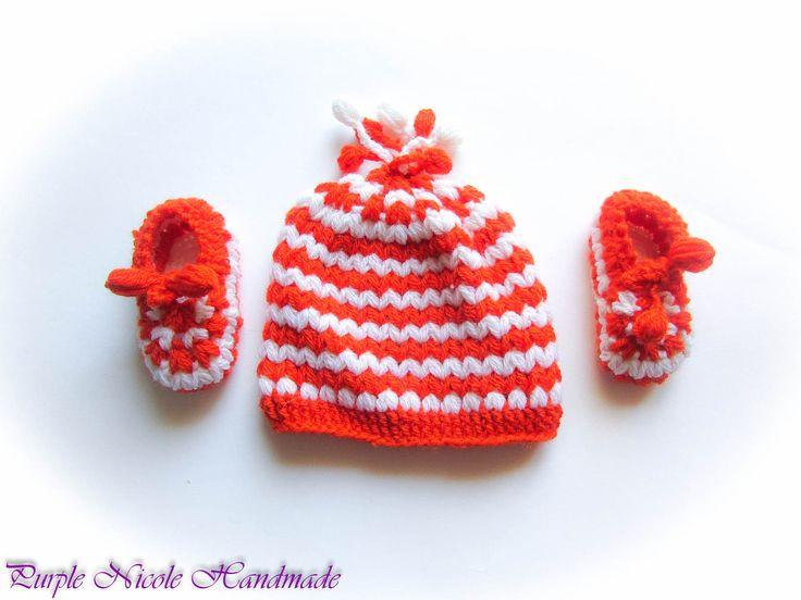 Peach - Handmade Crochet Children warm set: beanie and bootees by Purple Nicole (Nicole Cea Mov). Materials: white and orange yarn, beautiful crochet pattern.