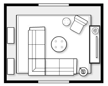 Space Plan for Fall Inspired Family Room- with sectional sofa, occasional chair, media cabinet, shelving and round upholstered ottoman. Satori Design for Living