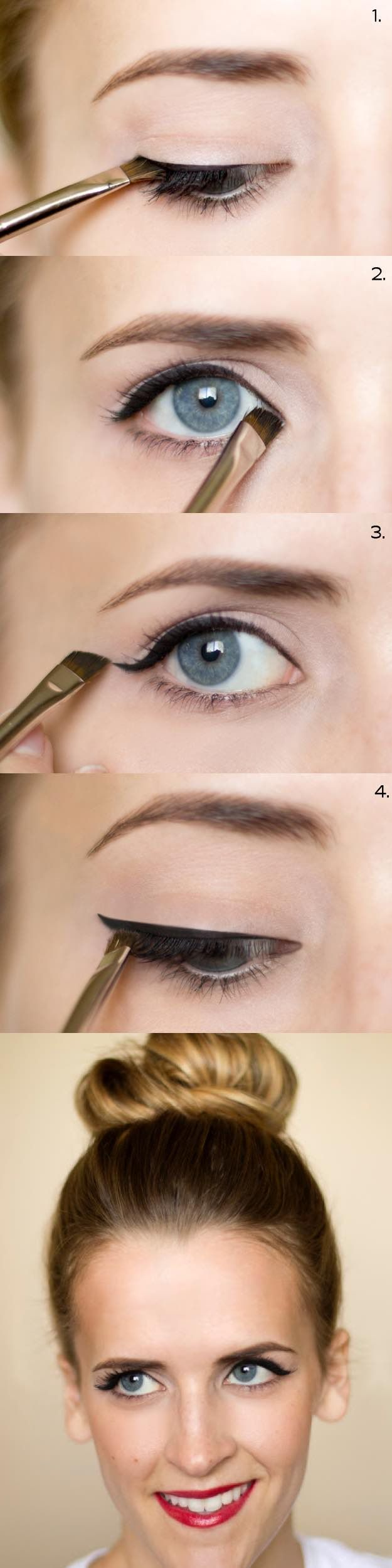 25 Must Know Eyeliner Hacks -How To: Cat Eyeliner -Winged Looks and Easy Makeup Tricks and Guides for Liquid Pencil and Gel Styles. Step by Step Tutorials with Pictures using Tape or a Spoon thegoddess.com/eyeliner-hacks #wingedlinertricks #makeuplooksstepbystep