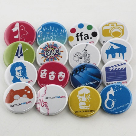 University of Lethbridge button campaign.  With a custom button campaign it is inexpensive to use multiple designs for your campaign. Multiple clean simple designs show the breadth of what is available in this department at Uleth.
