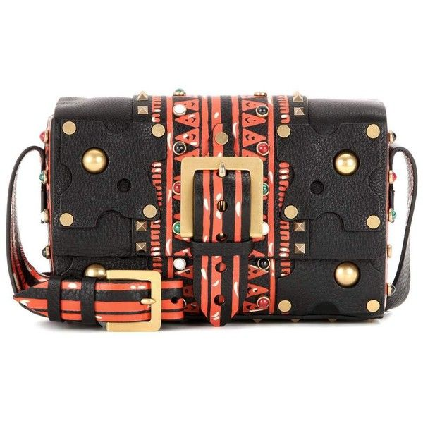 Valentino Printed Leather Shoulder Bag (135 450 UAH) ❤ liked on Polyvore featuring bags, handbags, shoulder bags, black, multi color purse, colorful purses, valentino purses, real leather purses and shoulder bag purse