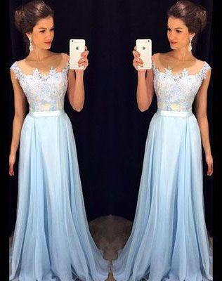 Light Sky Blue Appliques Custom Made Charming Prom Dress,Formal Dresses,Evening Dresses