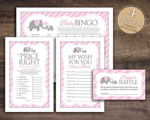 Instant Download, Elephant Theme Baby Shower Game Package for Girl, Bingo Cards, Price Is Right, Wish for Baby Diaper Raffle Pink Grey 22B