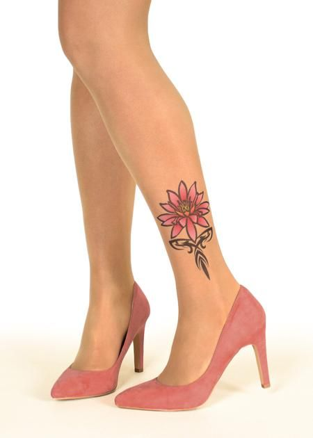 5918efe51b2 Pink Tribal Water Lily Tattoo Sheer Tights