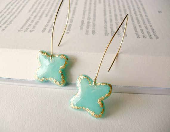 Mint and gold butterfly earrings Cute dangle by DivineDecadance, $20.00