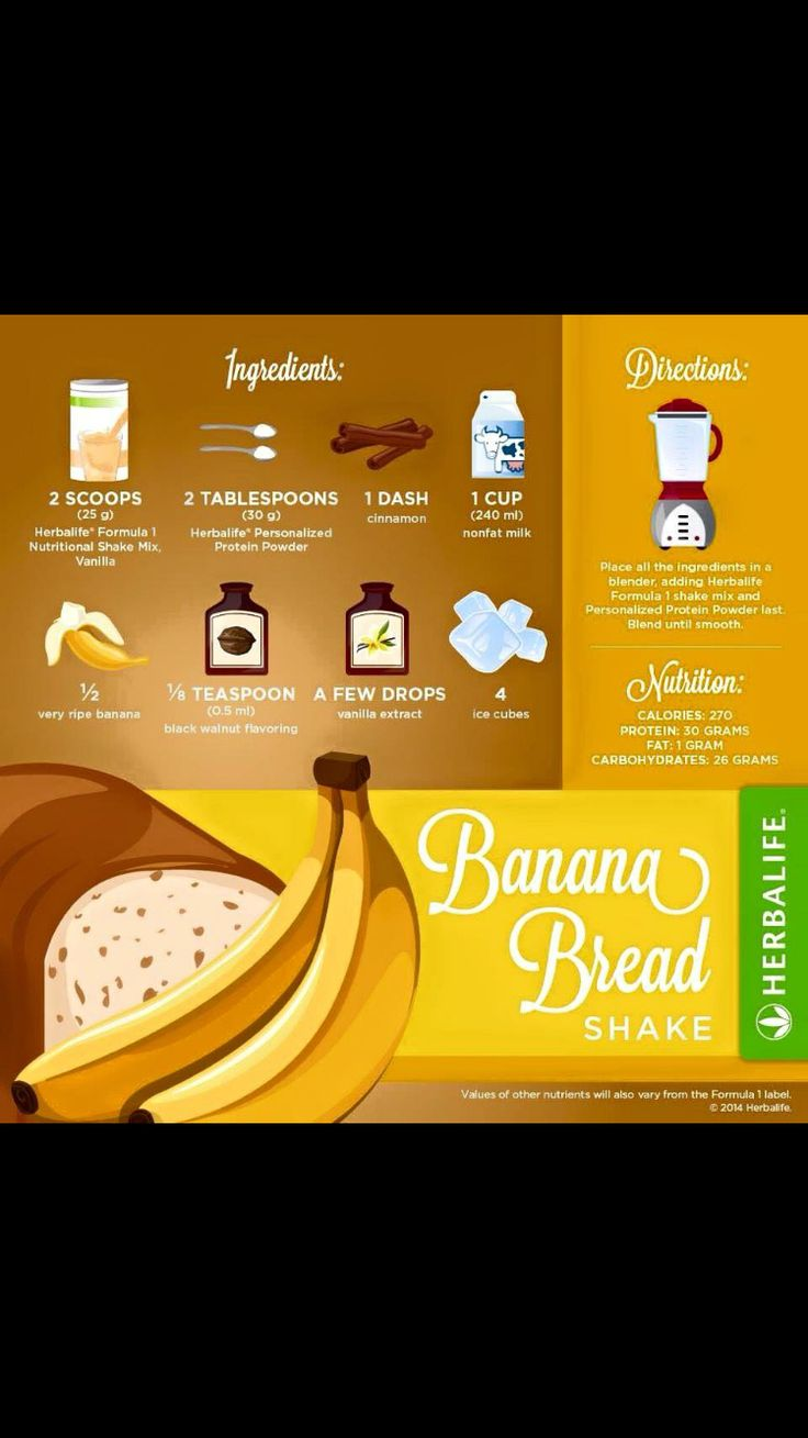 Banana bread Herbalife shake recipe                                                                                                                                                      More