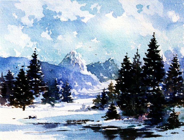 146 Best Watercolor Winter Images On Pinterest