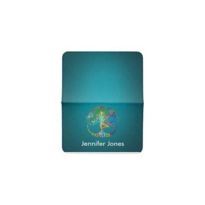Colorful  symbol for Vriksasana - Yoga Tree pose Business Card Holder - yoga health design namaste mind body spirit