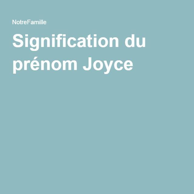 Signification du prénom Joyce