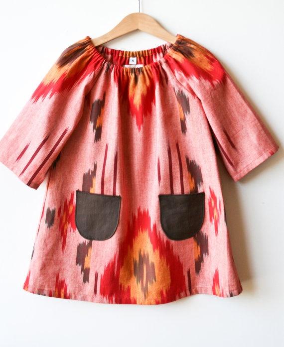 Phoenix - Woven Ikat Girls Dress