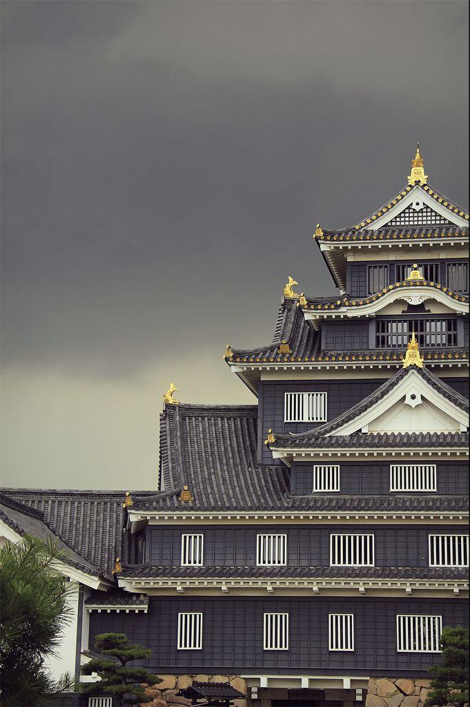 Storm above Okayama Castle --Japan