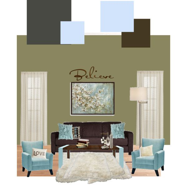 Blue, Brown and Earthy Green for the Living room. Have been looking for ideas with this color scheme.