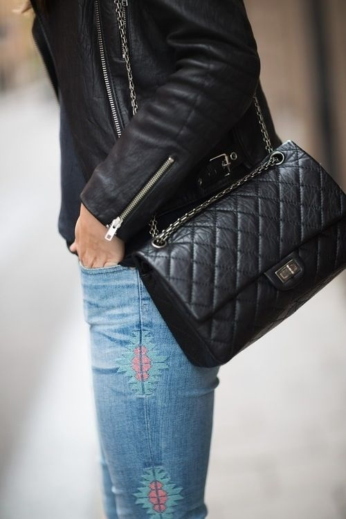 Chanel bag and AG jeans. Pay that my lady