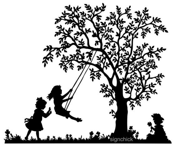 Tree Swing with little girls Vinyl Wall Decal by FairyDustDecals