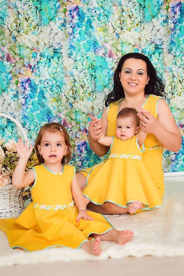 rochii galbene cu floricele pentru mama si fiice