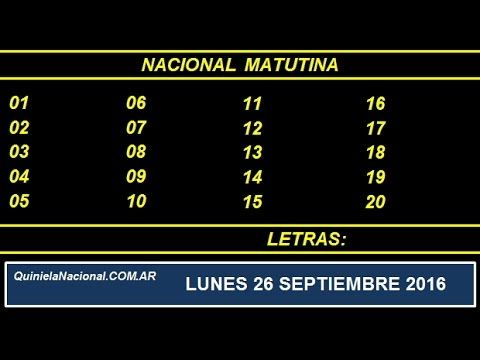Quiniela Nacional Matutina Sabado 24 de Septiembre del 2016