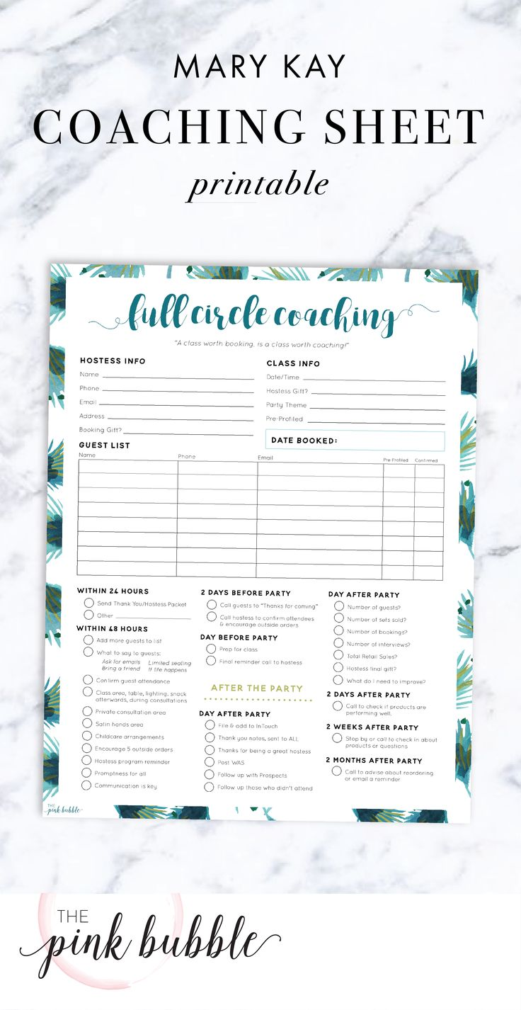 Mary Kay Full Circle Coaching Sheet. Find it only at www.thepinkbubble.co!