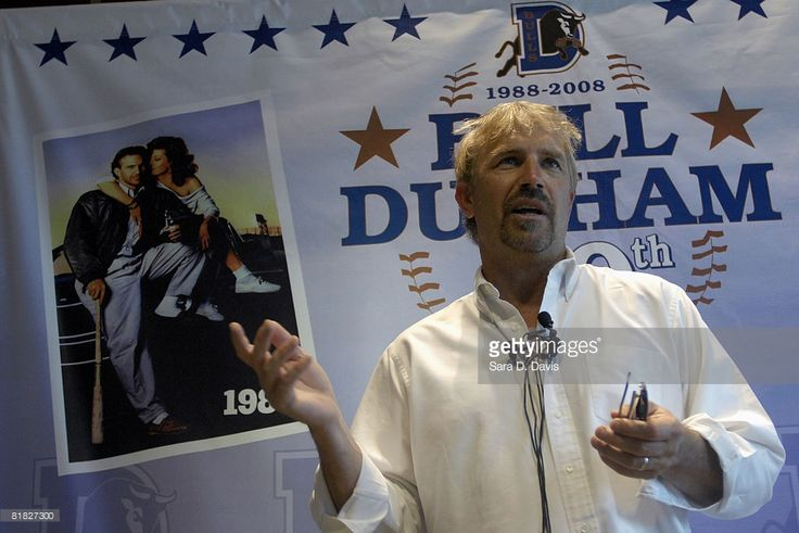 Kevin Costner speaks at a news conference before performing with his band Modern West at a July Fourth celebration at the Durham Bulls Athletic Park in Durham, North Carolina. The concert marked the 20th anniversary of Costner's baseball movie 'Bull Durham,' filmed in Durham.
