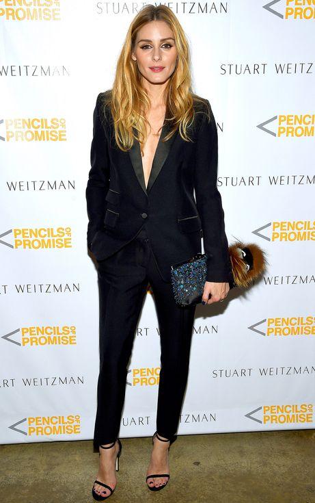 Olivia Palermo in a slim black tuxedo                                                                                                                                                                                 More
