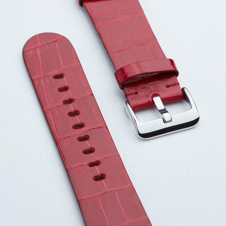 Genuine Alligator Apple Watch Strap // Marlboro Red Shiny