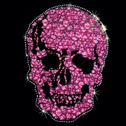 Rhinestud-and-Fabric-Pink-and-Black-Large-Skull-Womans-Top-T-Shirt-17172