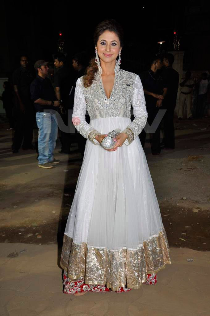 Urmila Matondkar - white, gold, and red anarkali