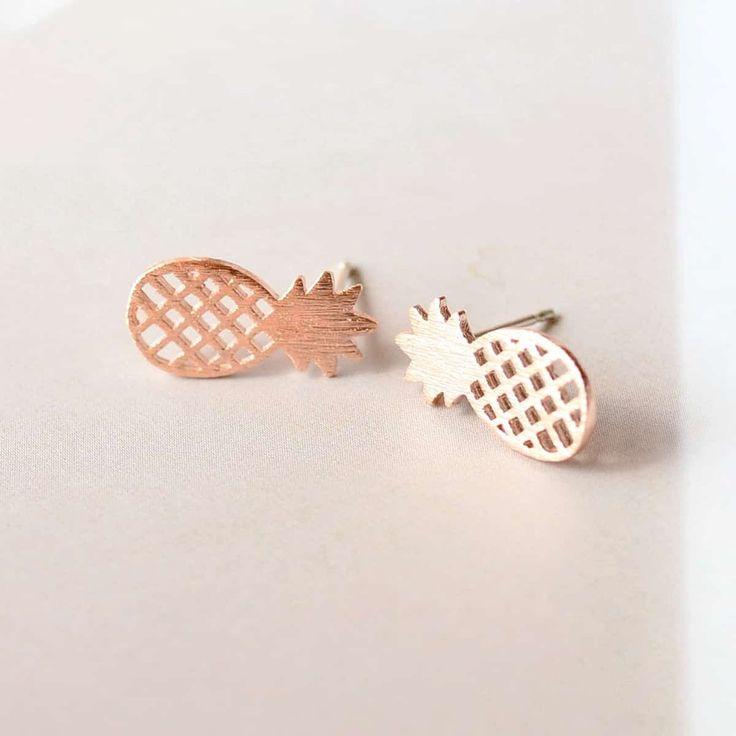 Pineapple Rose Gold Earrings