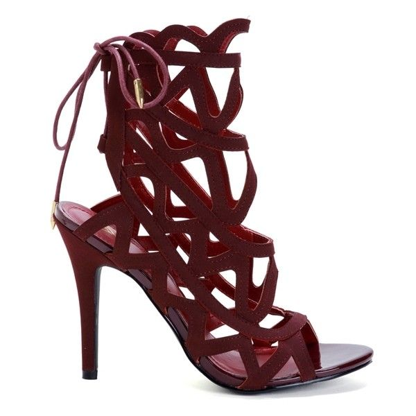 Burgundy Hot Stuff Caged Heels ($35) ❤ liked on Polyvore featuring shoes, pumps, burgundy shoes, burgundy pumps, caged pumps and caged shoes
