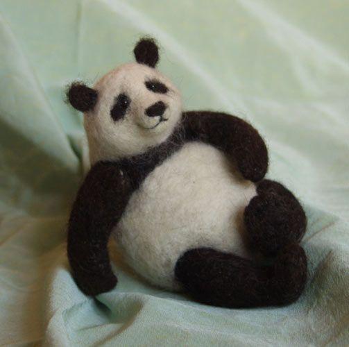 Stuffed Animals by Natasha Fadeeva - Needle felted panda