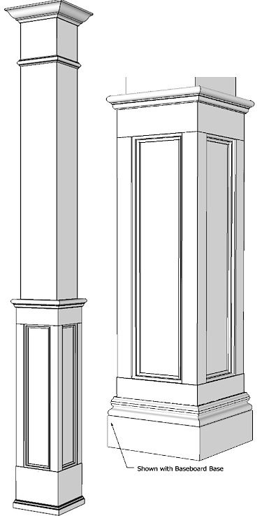 Square Half Recessed Panelled Column, Paint Grade
