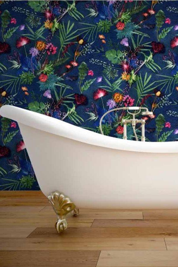Indigo Tropical 10m L x 52cm W Roll Wallpaper