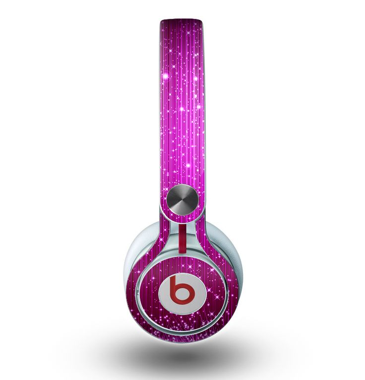 The Abstract Pink Neon Rain Curtain Skin for the Beats by Dre Mixr Headphones